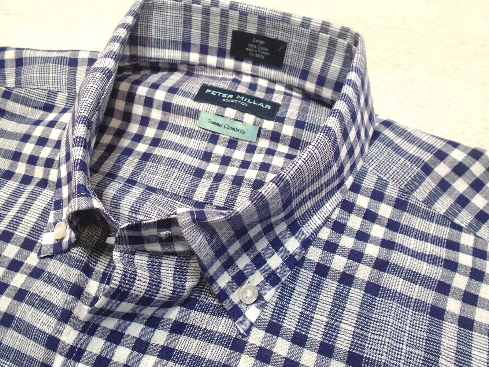 Peter Millar 100% Cotton Philosopher's Trail Plaid Sport Shirt NWT Large