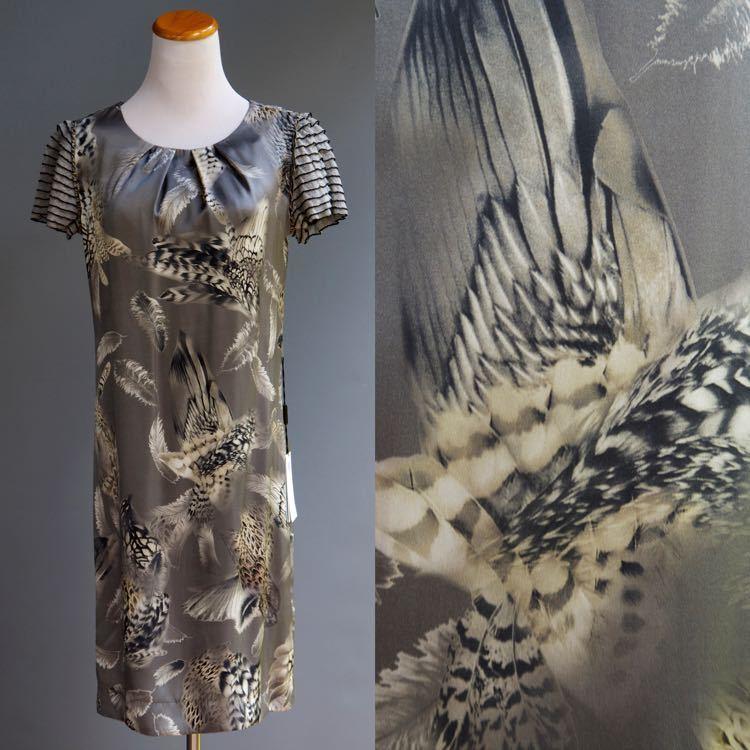 Marc Cain MarcCain Grey Silk Charmeuse Dress Bird Wing Feather Graphic NWT sz 2
