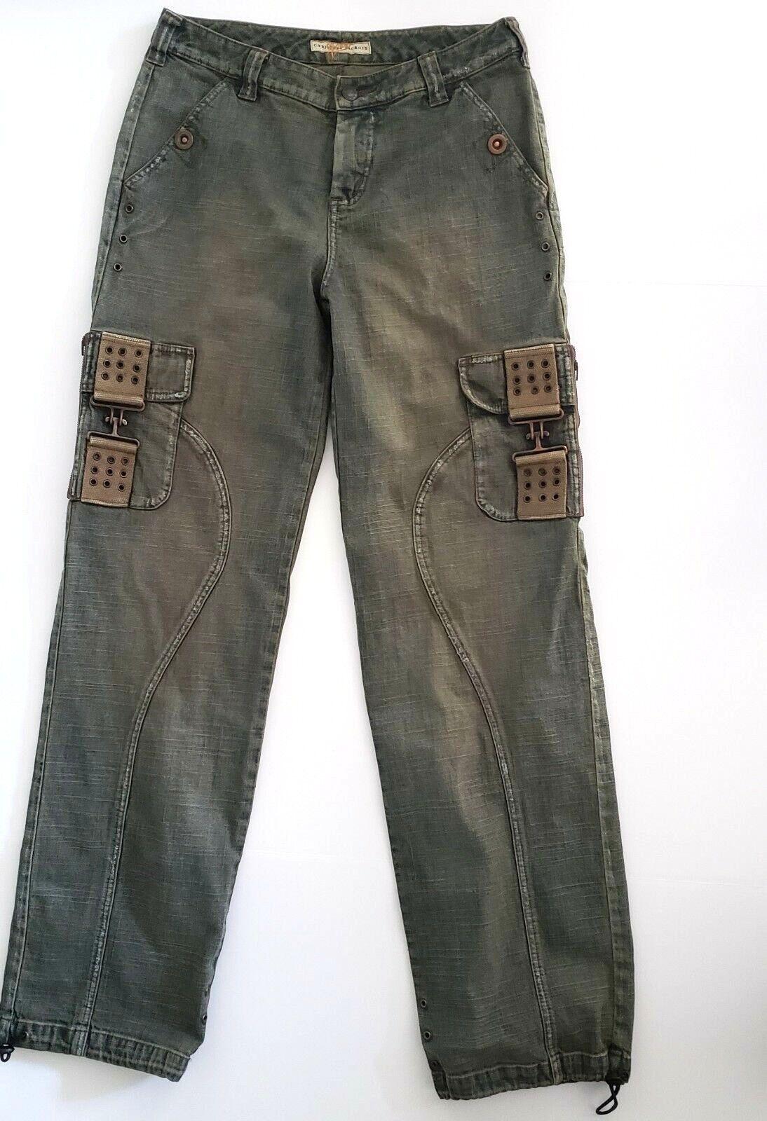 CHRISTIAN LACROIX Jeans Size 30 Womens Military Look Drawstring Cuff bluee Denim