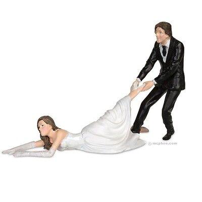 Reluctant Bride Cake Topper Funny Joke Prank Humor Dragging Wedding Favor Gift