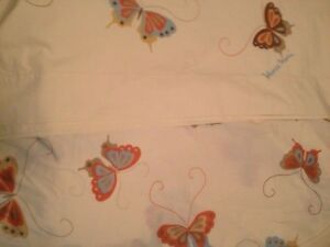 HANAE MORI BUTTERFLY VINTAGE FULL SIZE FLAT AND FITTED SHEET MARTEX PEPPERELL
