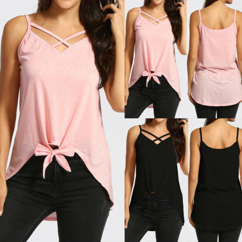 Women Front Cross Tie Sleeveless Vest Irregular Top Shirt Cotton Blend Tank Tops