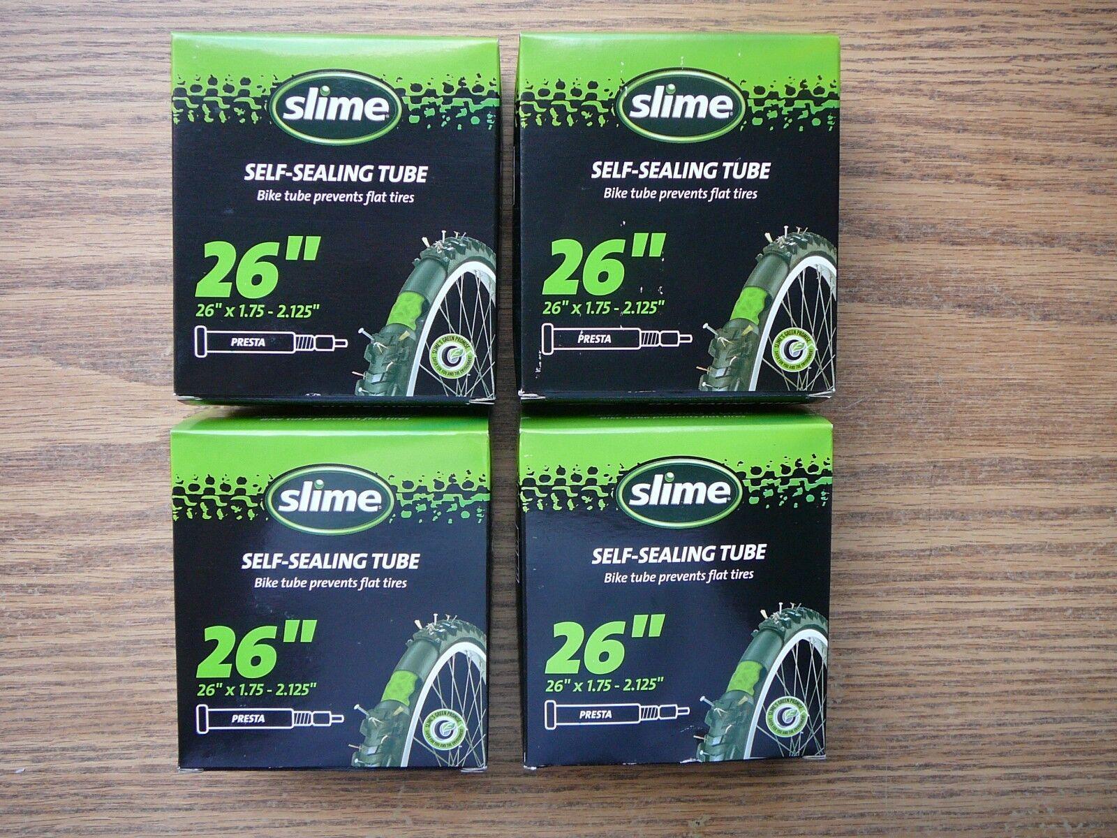Set of Four Slime Smart Tube Bike Tubes 26 1.75 1.8 1.9 2.0 2.125 Presta New