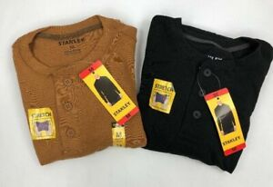 Stanley-Men-039-s-Long-Sleeve-Thermal-Henley-Stretch-Shirt-Brown-Black-Variety