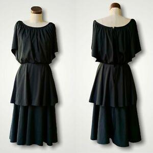 VINTAGE 60s 70s Cocktail Black Tiered Dress Bat Sleeve 11/12 M/L