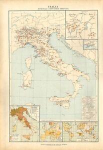 Carta-geografica-antica-ITALIA-MINERALI-E-INDUSTRIE-De-Agostini-1927-Antique-map