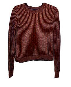 Cabi-Size-XS-Womens-Orange-Purple-Melange-Lava-Stripe-Knit-Sweater-891