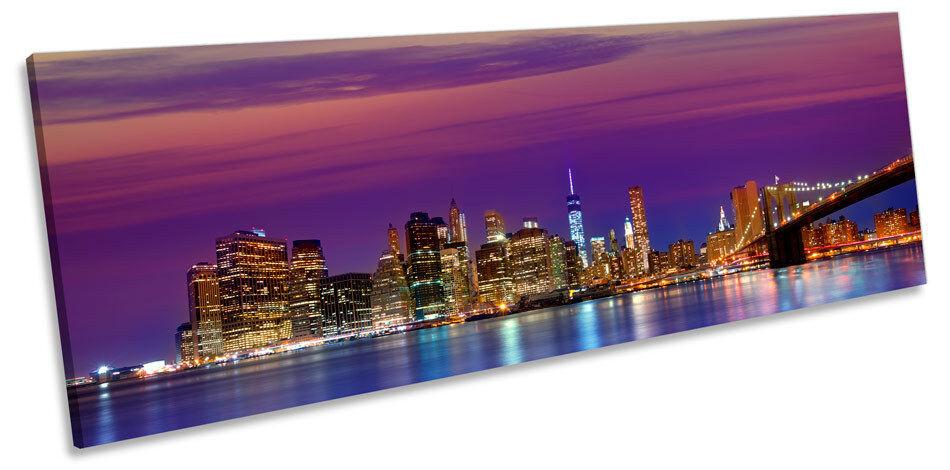 Brooklyn Bridge Sunset New York CANVAS WALL ART Panoramic Framed Print