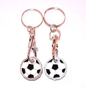 2 PACK FOOT BALL ONE POUND COIN TOKEN KEYRING SHOPPING TROLLEY KEYRING