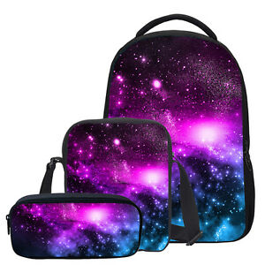 24f08e38cbd S 3 Set Kids Girls Galaxy Large School Backpack Cosmos Shoulder Bag ...
