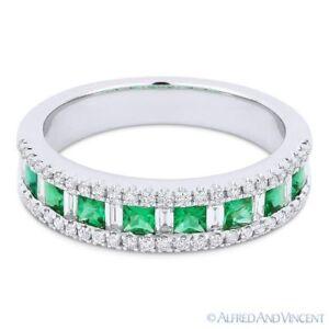 0 84ct Princess Cut Emerald Diamond 18k White Gold