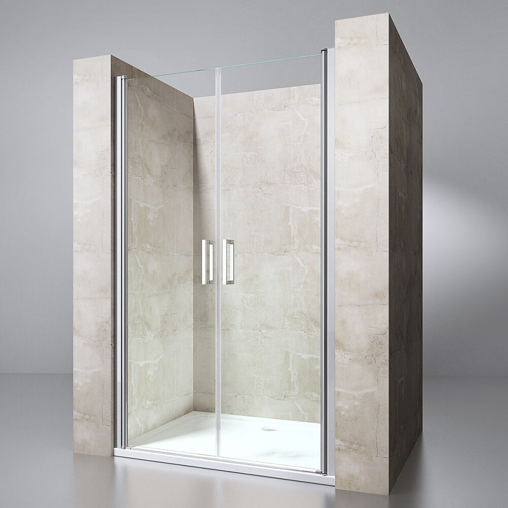 Nische-Duschwand Duschtür mit Pendeltür ESG-Glas und NANO-Versiegelung