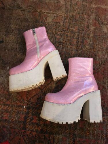 USED SIZE 7 Amazing Glitter Glam Baby Pink Platfor