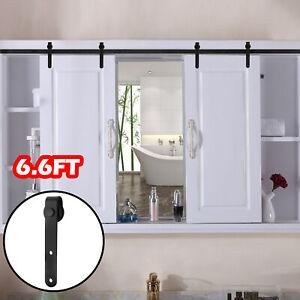 6-6FT-Antique-Sliding-Barn-Door-Hardware-Double-Door-Track-Kit-Mini-Roller-Set