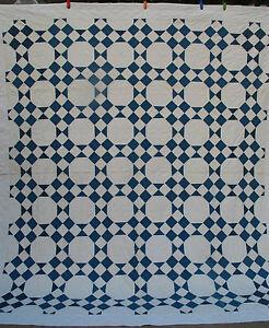 Antique-Quilt-Indigo-Blue-White-Cotton-1900-039-s-graphic-amp-great-condition-84x93