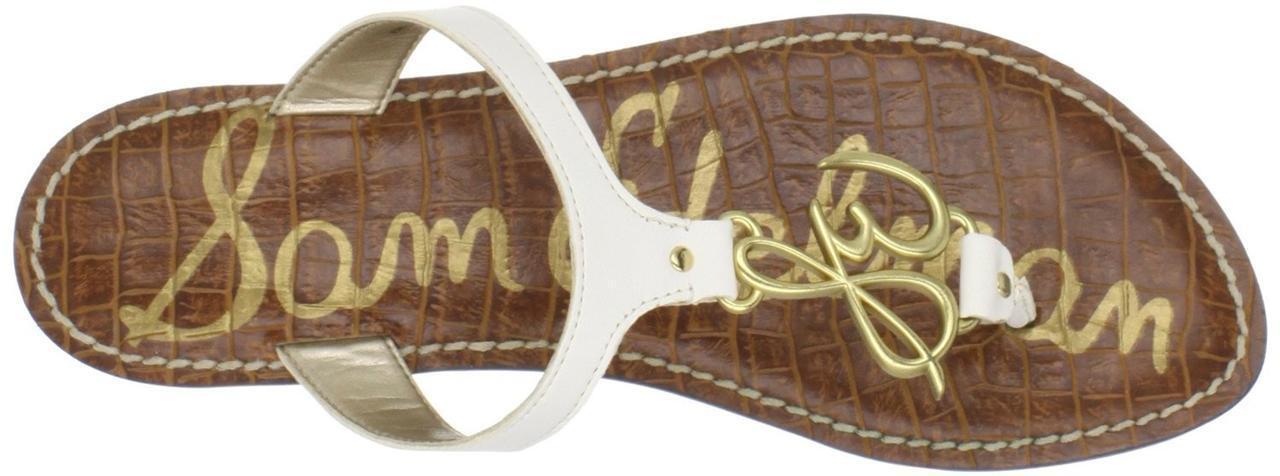 Sam Edelman Gabby Sandale Off Leder Weiß Thong gold logo Leder Off NEW Summer sexy schuhe 3f1084