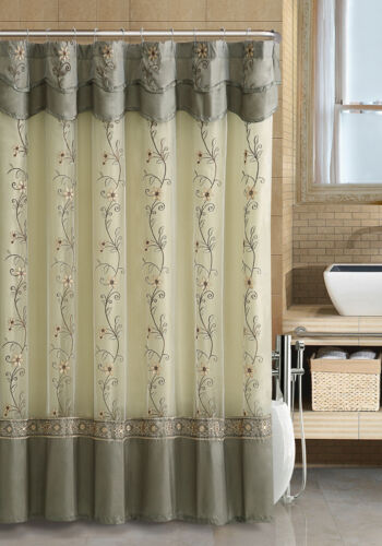 VCNY Daphne Embroidered Sheer /& Taffeta Fabric Shower Curtain Assorted Colors