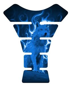 Fire Wolf Blue Beast Motorcycle Gel Gas tank pad protector Guard Sticker Decal