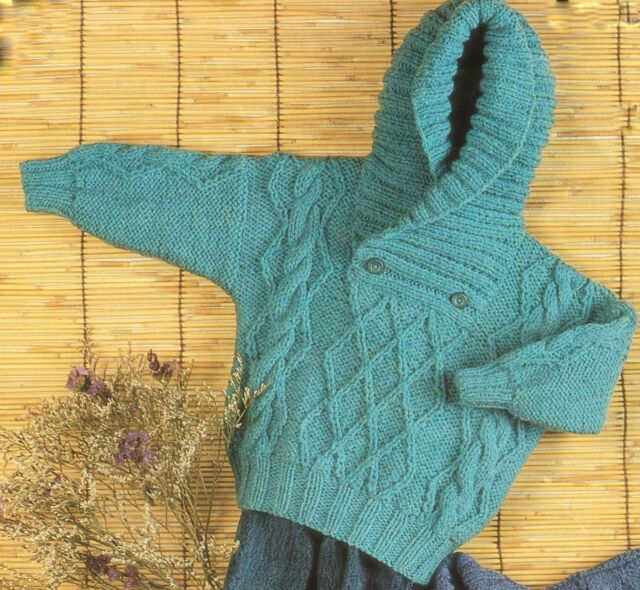 """Aran Cable Roll/Shawl Neck Baby Sweater/Hood/ Cardigan 18""""- 26"""" To Knit"""