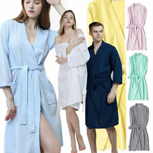 da1ae2bd2f Details about Men Women Cotton Waffle Bath Robe Suck Sweat Kimono Bathrobe  Summer Nightgowns