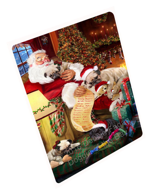 Pug Hund Sleeping with Santa Woven Throw Sherpa Fleece Blanket NWT