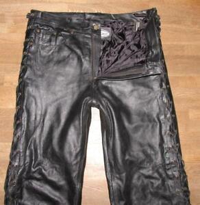 STARK-Herren-SCHNUR-LEDERJEANS-Biker-Lederhose-in-schwarz-ca-W37-034-L29-034