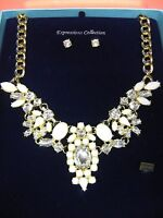 Bella Perlina Expressions Crystal White & Gold 20 Necklace & Earring Set