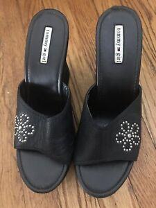 Tommy-Hilfiger-034-Tommy-Girl-034-Shoes-Size-10M-Black-Leather-Clog-Wedge-Heel
