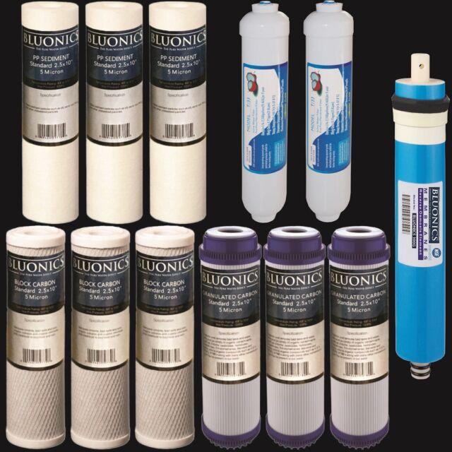 Reverse Osmosis Replacement Filter Set  RO Cartridges 12 pcs w/ 100 GPD Membrane