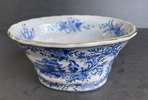"Vintage Jardiniere Planter Ethnic Scene Crackle Porcelain Flowerpot 4"" Gilding"