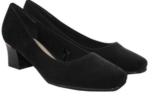 Womens Ladies mid heel smart office work party Comfort pumps formal court shoes