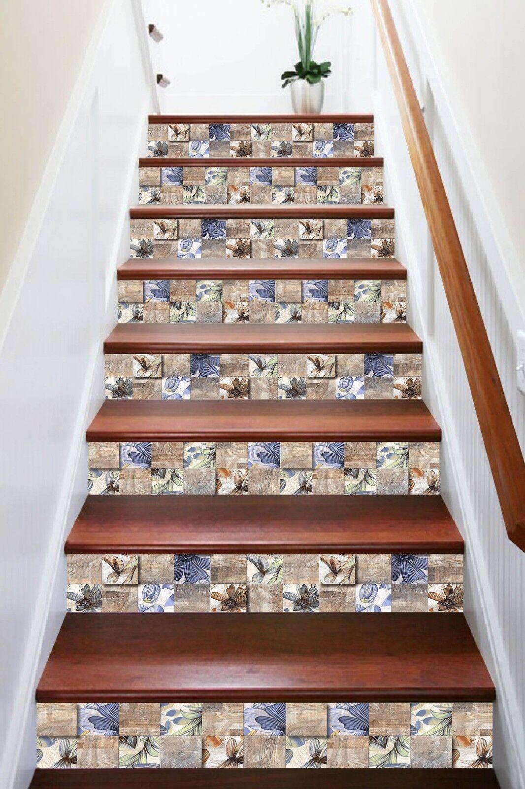 3D Fashion Floral 1 Tile Marble Stair Risers Decoration Mural Vinyl Wallpaper