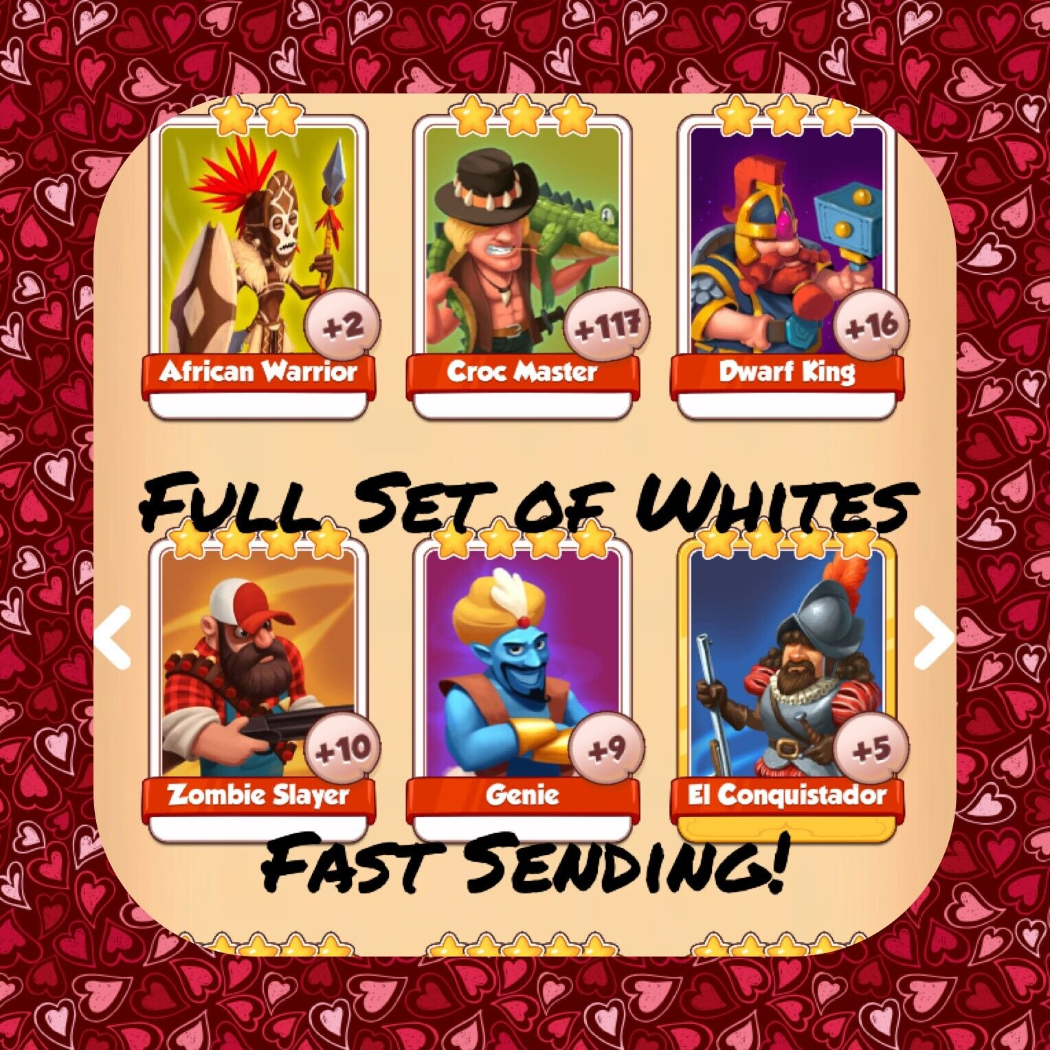 Coin Master Full Heroes Set (All Whites) Africian Warrior Genie Zomb (Fast Send)