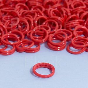 "50 Pack Spiral Chicken Poultry Leg Bands Rings - #11 11/16"" size - Red Color"