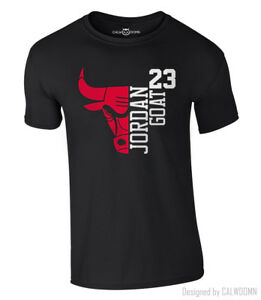 85df1236a0ae Jordan T-Shirt 23 GOAT Chicago Bulls Michael Basketball Shirt NBA S ...