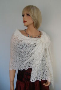 Image Is Loading Hand Knitted Kid Mohair Wedding Shawl Wrap Ivory
