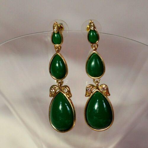 Boucles d/'Oreilles Long Goutte Poire Vert Retro Original Mariage Cadeau CC 5