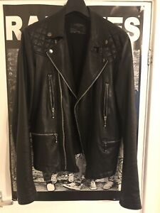 Inquiet All Saints * Original * En Cuir Veste De Motard Hommes Noir L Sold Out Rare Punk-afficher Le Titre D'origine