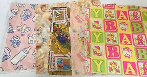 Vintage-Lot-of-Hallmark-amp-various-Gift-Wrap-Baby-Shower-FAST-FREE-SHIPPING