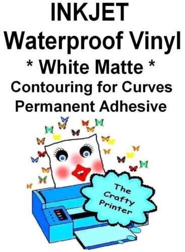 2 MATTE WHITE INKJET Waterproof  PERMANENT Adhesive CONTOURING Decal Vinyl