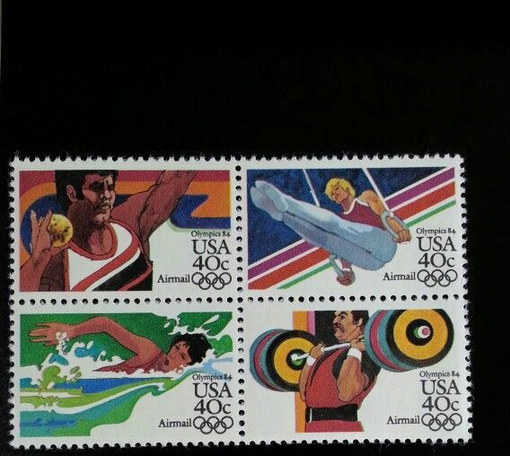 1983 40c Summer Olympics, Block of 4 Scott C105-8 Mint