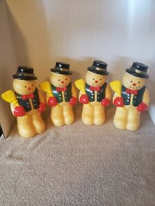4-Vtg-Dynagood-1997-Xmas-Snowman-w-Broom-Blow-Mold-Figurine-Light-Toppers-Only