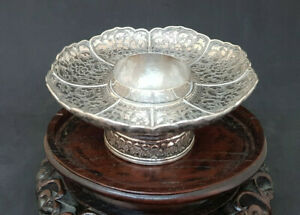 ANTIQUE-BEAUTIFUL-CHINESE-EXPORT-SOLID-SILVER-TRAY-DISH-57-1-G