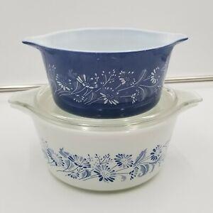 3 pc Vintage Pyrex Colonial Mist Blue w White Flowers Casserole 473-B and 474-B