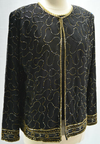 Top New York Perlée Vintage Veste M Jmd Doublé Femme Noir Argent Or Cocktail Pd5q6c4w