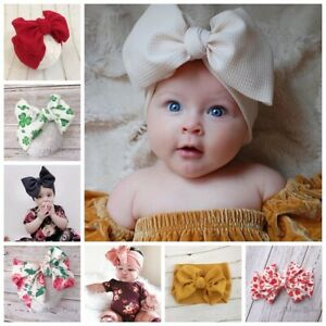 Oversized-Big-Waffle-Tie-Bow-Baby-Head-Wrap-Turban-Headband-Newborn-Girl