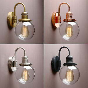 RETRO INDUSTRIAL ROUND SPHERE GLASS WALL LAMP SCONCE BATHROOM KITCHEN WALL LIGHT