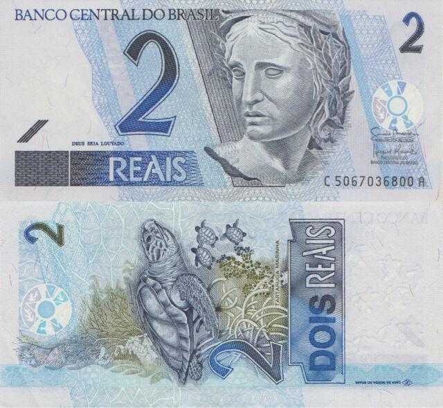 Brazil 2 Reais (ND/2001-) - Sea Turtle/Liberty/p249/Series CA UNC
