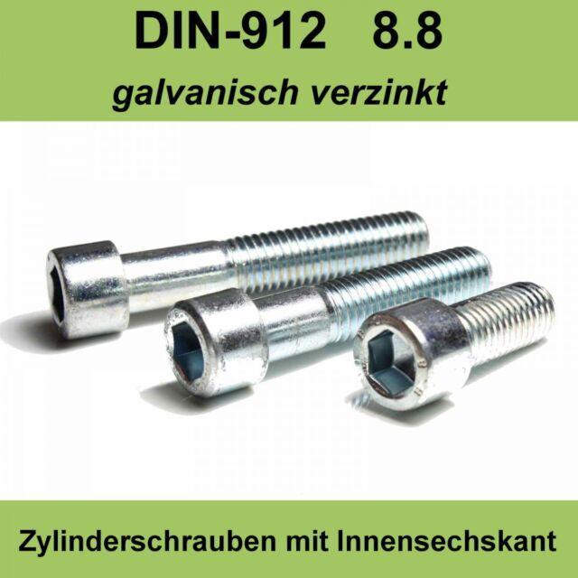 M6 DIN 912 Zylinderschraube Innensechskant Zylinder Kopf Schrauben verzinkte M6x