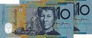 AUSTRALIA-10-2015-Consecutive-Prefix-Matching-Serials-x-2-UNC-Banknotes
